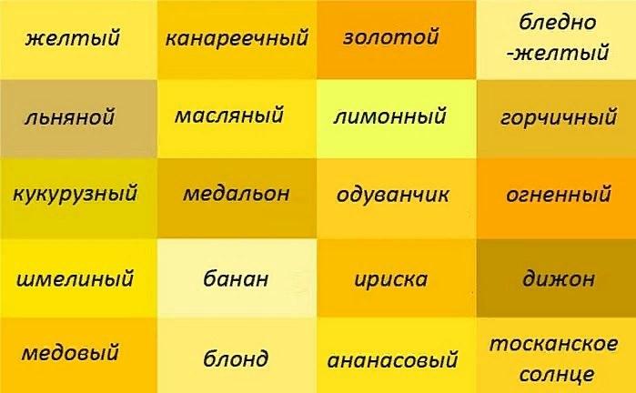Оттенки желтого цвета