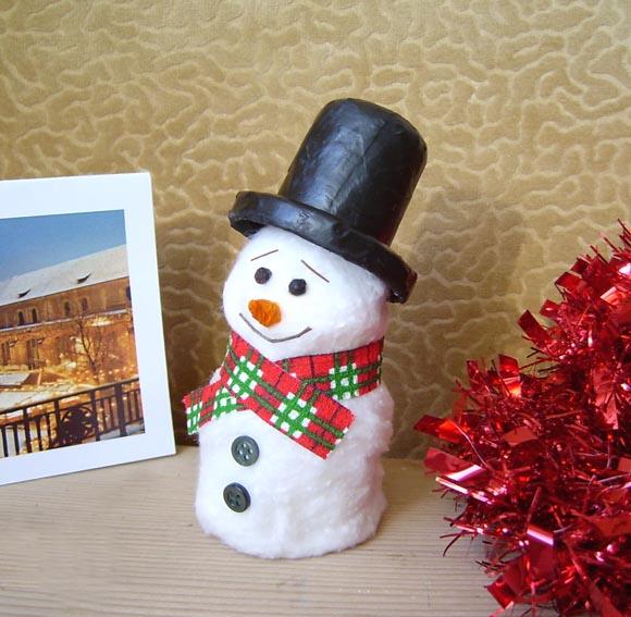 Поделка снеговик из ваты своими руками фото