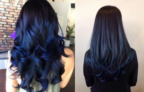 Угольно-синие пряди - модное окрашивание волос 2019: роскошные оттенки для брюнеток и блондинок