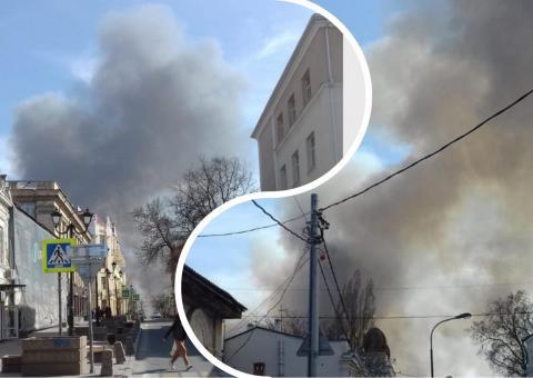 Дым пожар Ростов камыш