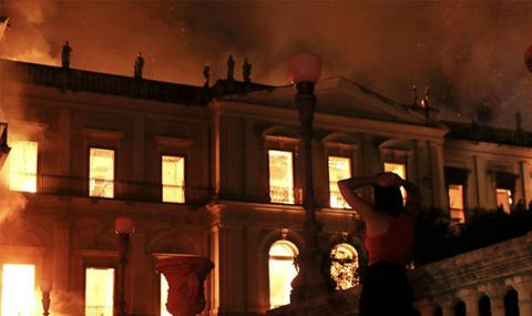 пожар в Национальном музее в Рио