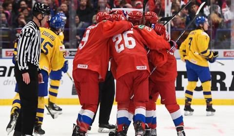 игра молодёжных команд Швеции и России по хоккею
