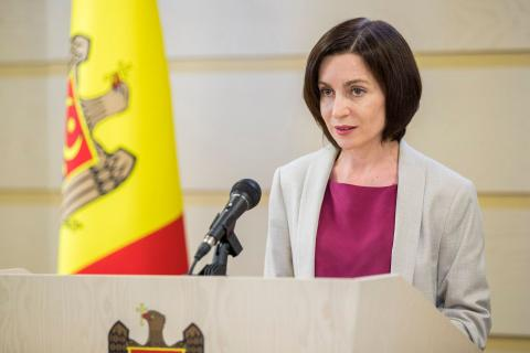 Майа Санду флаг Молдавии
