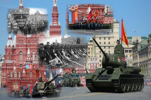 Военные на параде в Москве на Красной площади
