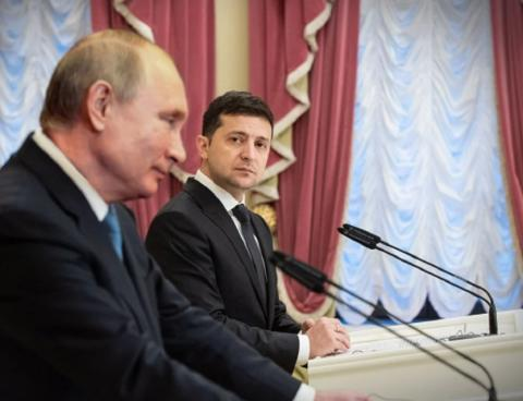 Президенты России и Украины Путин и Зеленский