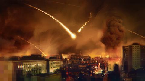Воздушный удар по сирийскому городу