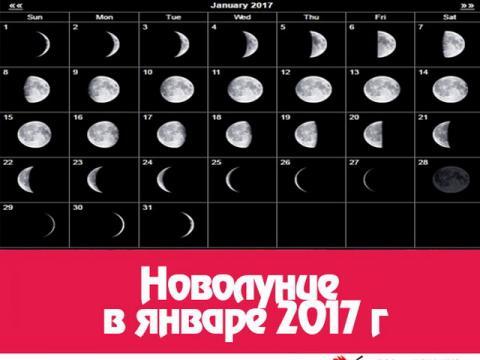 Когда наступит Новолуние в январе 2017 года