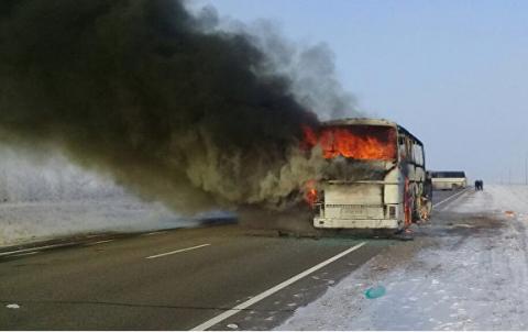 В Казахстане сгорел автобус людьми, погибли 52 человека