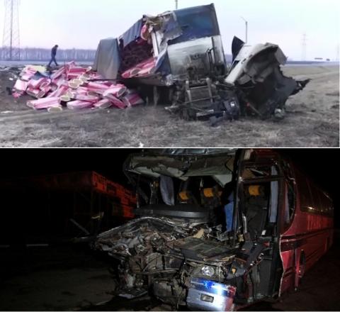 ДТП под Рязанью с фурой и автобусом: 31 человек ранен, 2 погибших