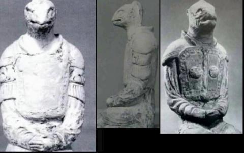 Статуи рептилоидов из японского храма Хорюдзи