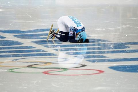 Российский спортсмен на Олимпийский играх в Пхёнчхане