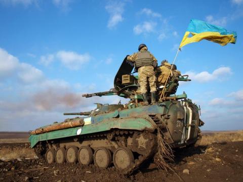 Бойцы ВСУ на БМП