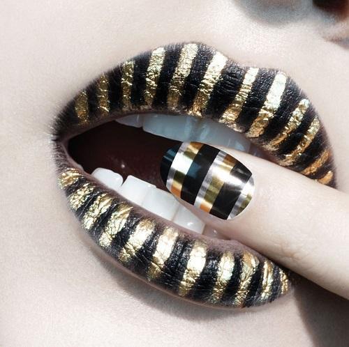Модный маникюр с золотыми полосками - тренд 2019, 66 потрясающих новинок весеннего маникюра, фото