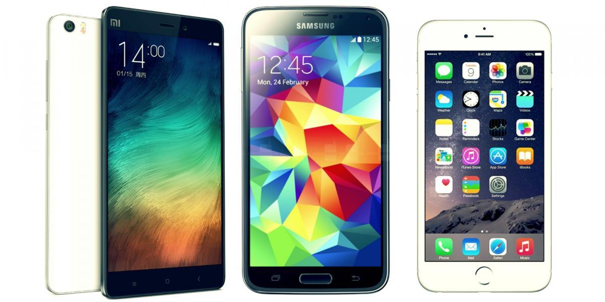 Смартфоны Apple, Xiaomi и Samsung