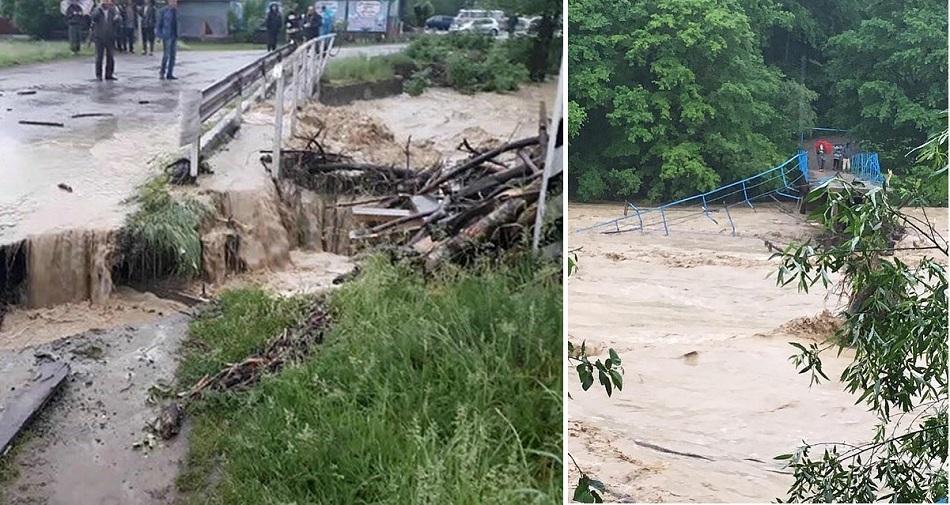 На Кубани из-за обильных ливней смыло мосты