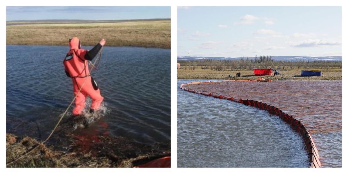 Коллаж водолаз и озеро Пясино под Норильском