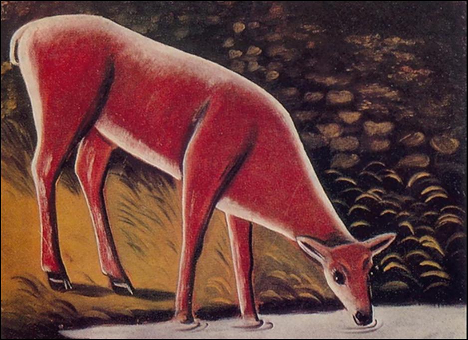 Картина Нико Пиросмани «Косуля у ручья»