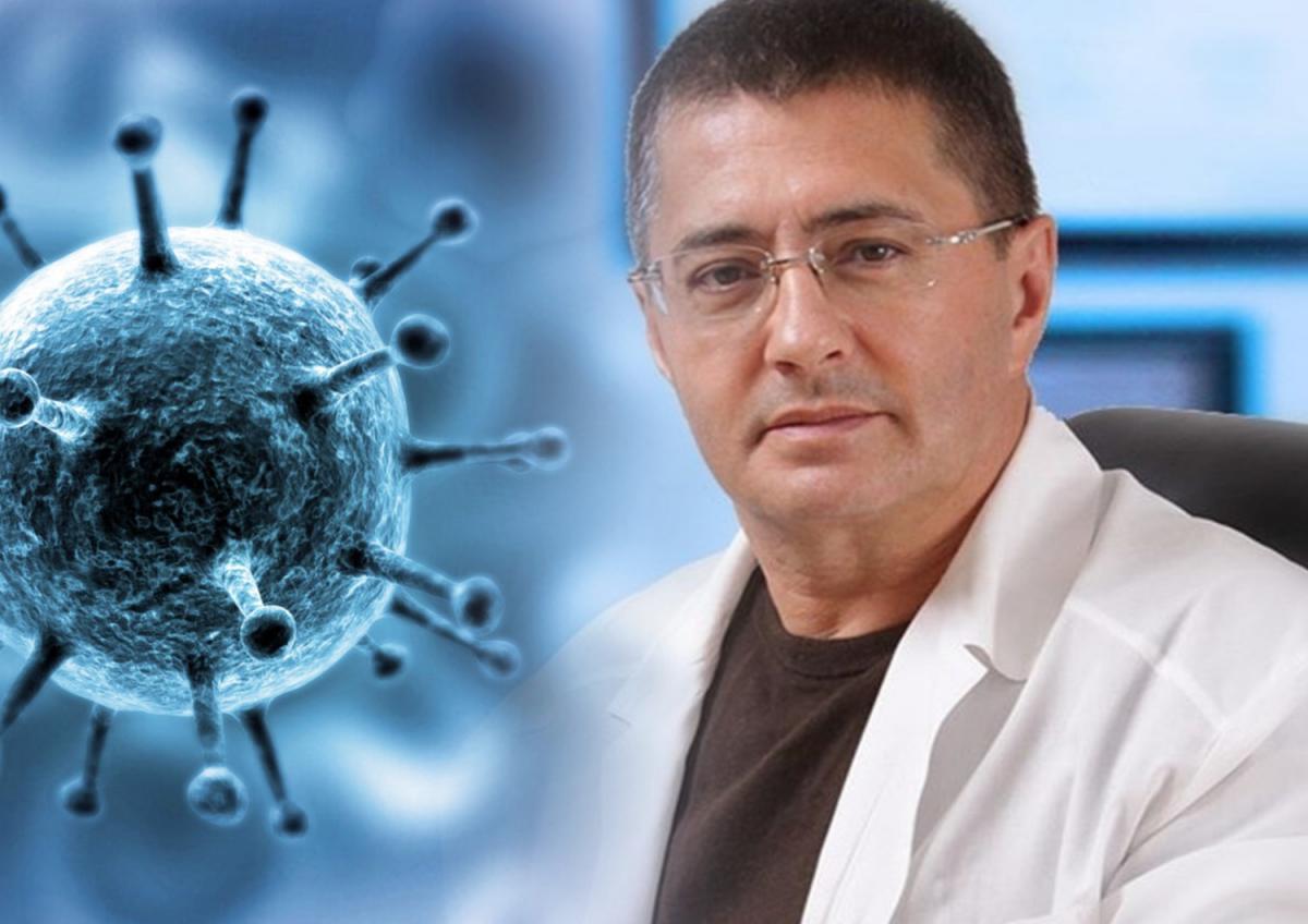 Коллаж: картинка коронавируса и доктор Александр Мясников