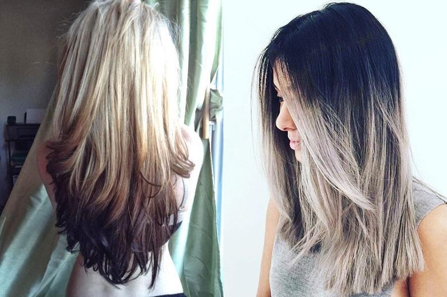 Красивое обратное омбре - модное окрашивание волос в 2019 году: необычное сочетание цветов для всех - блондинок, брюнеток и рыжих