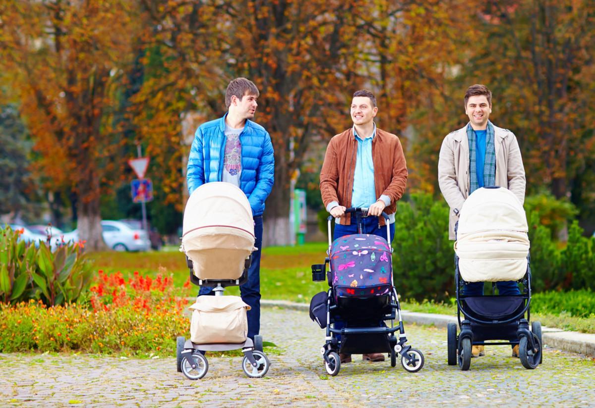 Папы с детскими колясками