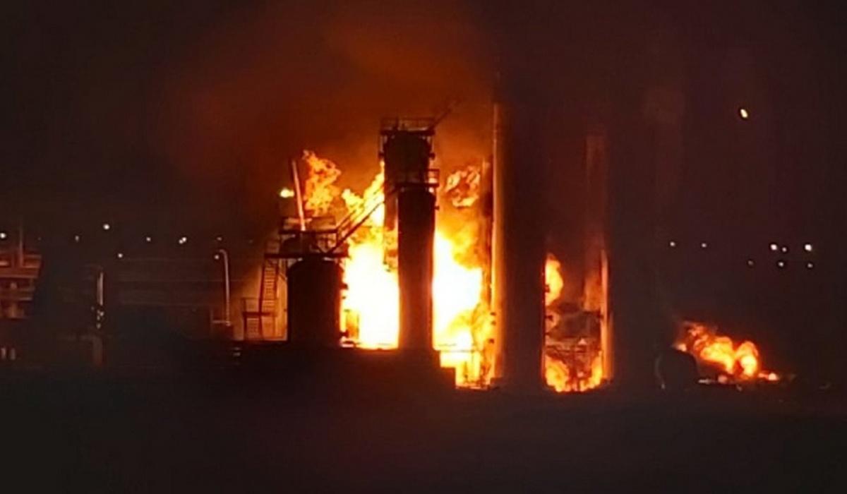 Пожар на нефтеперабатывающем заводе в Республике Коми