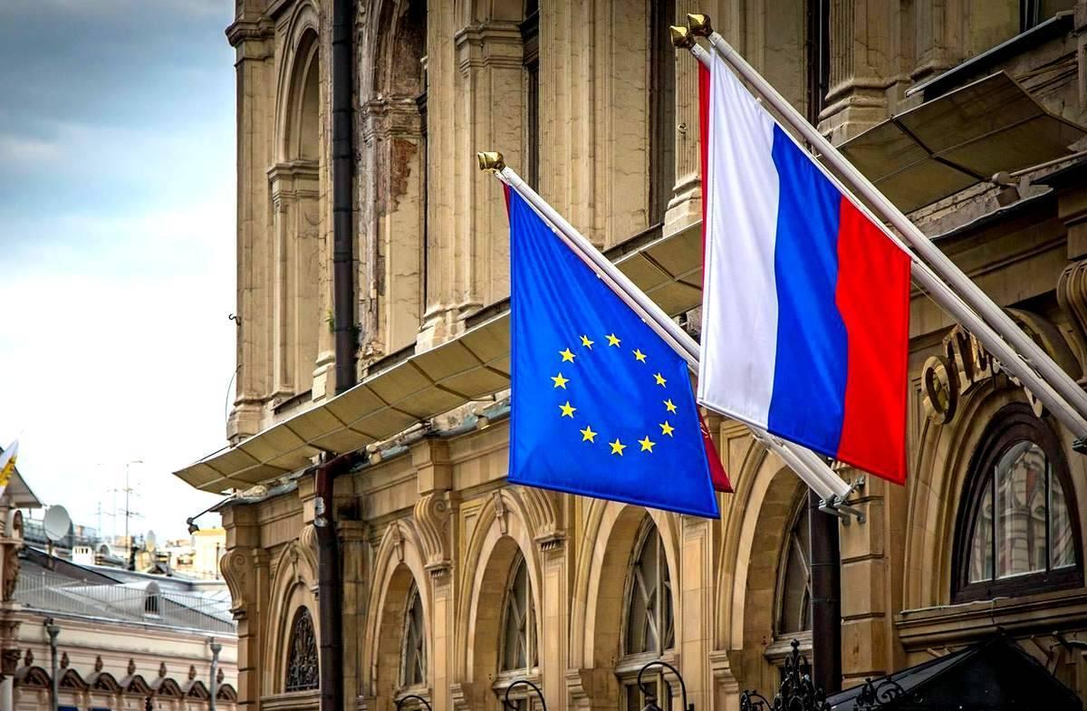 Флаги России ЕС вместе