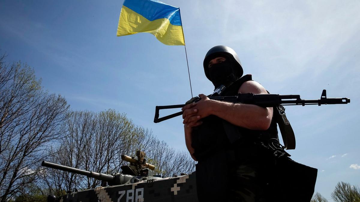 ВСУ Украина Донбасс война флаг военный автомат