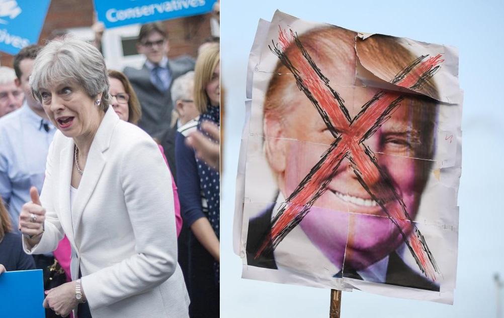 Мэй хочет спасти Трампа от протестующей толпы в Лондоне