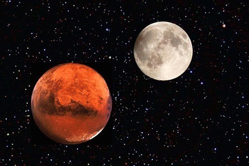 14 июля жители России смогут увидеть слияние Луны и Марса