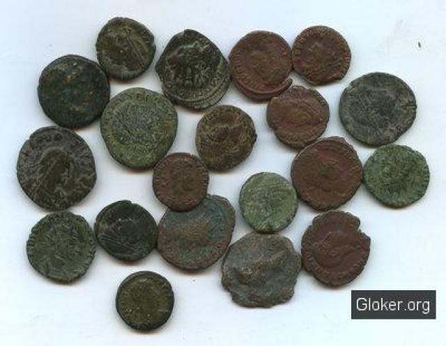 Монеты Римской империи всредневековом японском замке