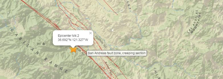 Разлом Сан-Андреас сотрясают толчки магнитудой до 4.2