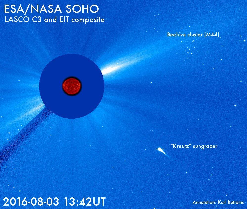 Комета врезалась в Солнце вызвав выброс корональной массы