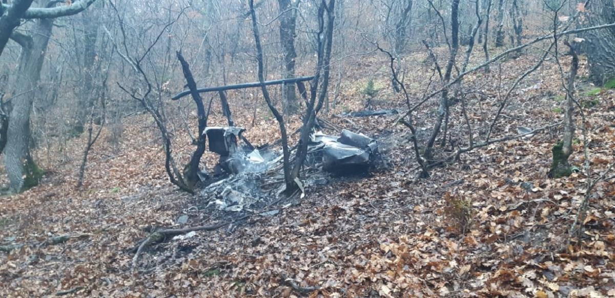Под Новороссийском разбился и сгорел вертолет