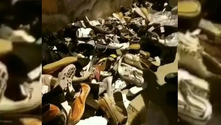 ВКраснодаре под Северным мостом выбросили гору новейшей обуви